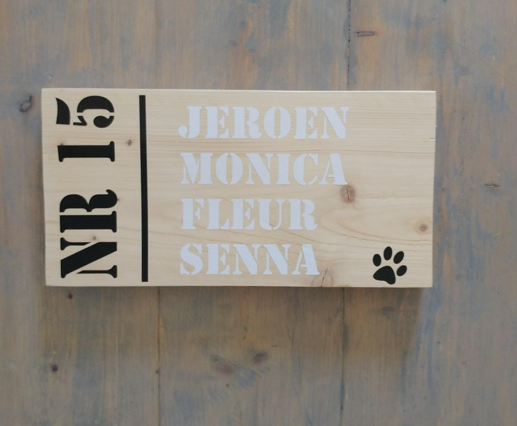 Wonderbaar Naambord met huisnummer steigerhout - tekstborden AL-42